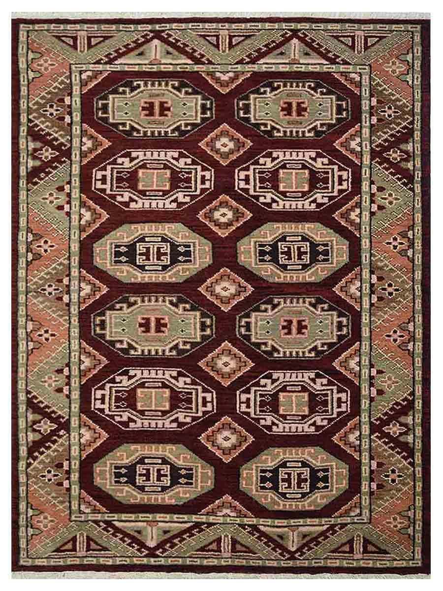Hand Knotted Afghan Wool And Silk Oriental Area Rug Kazak Multi