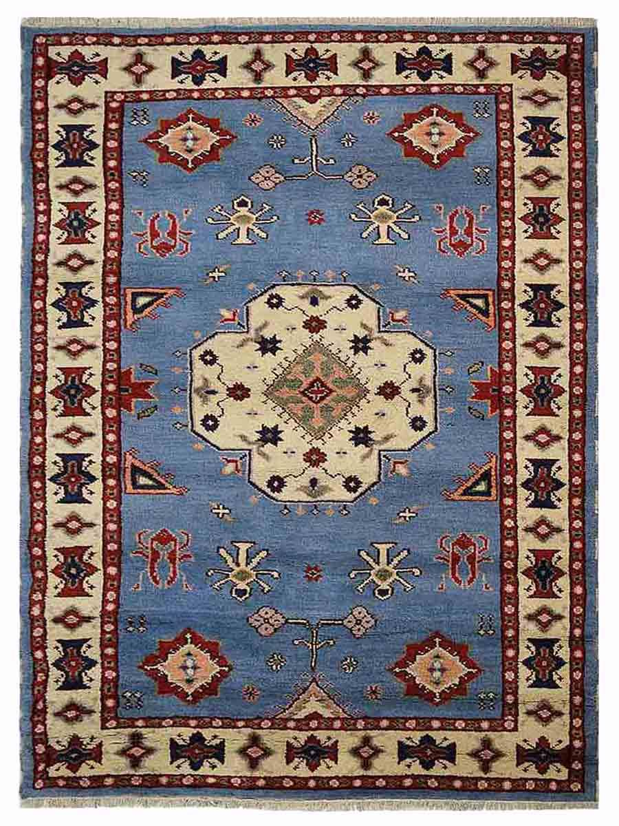Hand Knotted Afghan Wool And Silk Oriental Area Rug Kazak Blue White