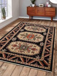 Hand Knotted Afghan Wool And Silk Oriental Area Rug Kazak Black Cream