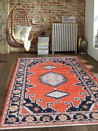 Hand Knotted Afghan Wool And Silk Oriental Area Rug Kazak Dark Orange Navy