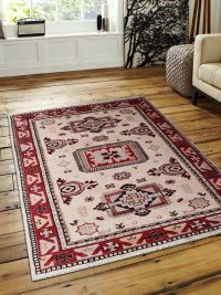 Hand Knotted Afghan Wool And Silk Oriental Area Rug Kazak Cream Red