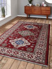 Hand Knotted Afghan Wool And Silk Oriental Area Rug Kazak Red Cream