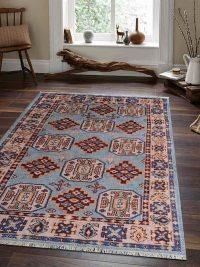 Hand Knotted Afghan Wool And Silk Oriental Area Rug Kazak Aqua Cream