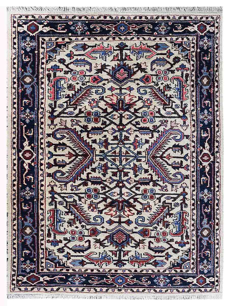 Hand Knotted Afghan Wool And Silk Oriental Area Rug Kazak White Blue