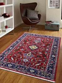 Hand Knotted Afghan Wool And Silk Oriental Area Rug Kazak Red Blue