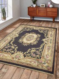 Hand Knotted Aras Wool Oriental Area Rug Vintage Light Blue