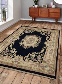 Hand Knotted Aras Wool Oriental Area Rug Vintage Navy
