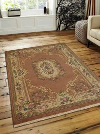 Hand Knotted Aras Wool Oriental Area Rug Vintage Rose Cream