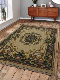 Hand Knotted Aras Wool Oriental Area Rug Vintage Ivory Green