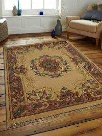 Hand Knotted Aras Wool Oriental Area Rug Vintage Ivory Rose