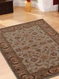 Hand Tufted Wool Area Rug Oriental Beige