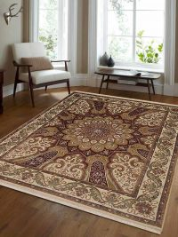 Hand Knotted Isfahan Wool Oriental Area Rug Vintage Cream