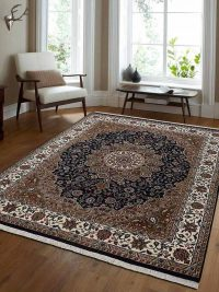 Hand Knotted Isfahan Wool Oriental Area Rug Vintage Blue