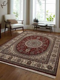Hand Knotted Isfahan Wool Oriental Area Rug Vintage Red