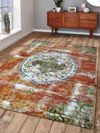 Machine Woven Polypropylene Area Rug Turkish Oriental Beige Caramel