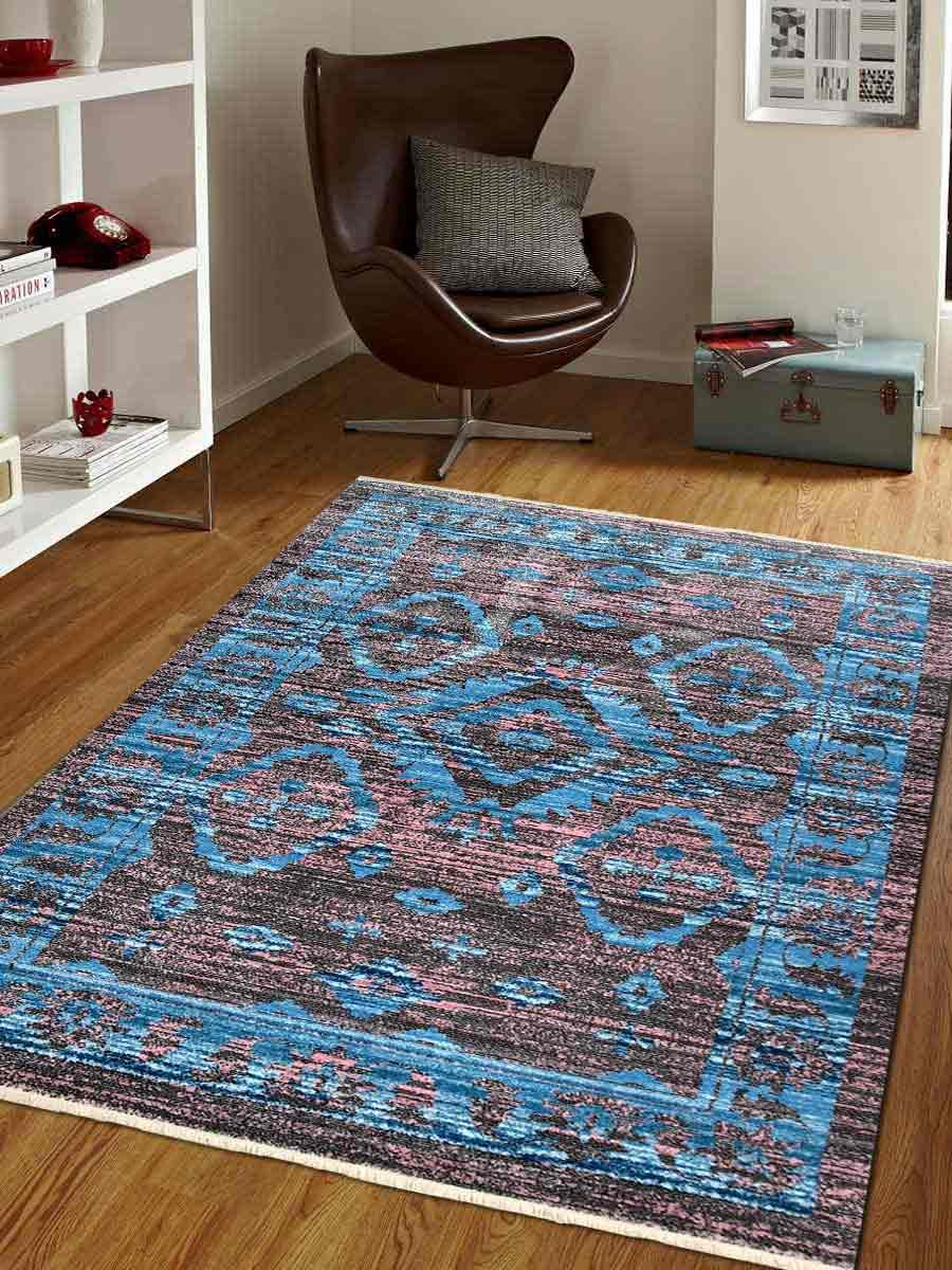 Crossweave Machine Woven Polyester Turkish Oriental Area Rug Brown
