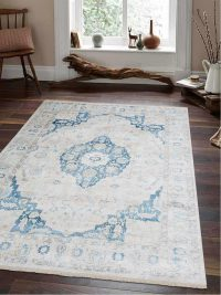 Crossweave Machine Woven Polyester Turkish Oriental Area Rug Ivory