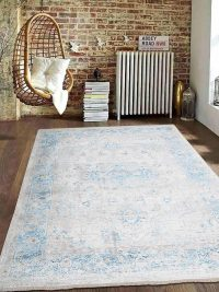 Crossweave Machine Woven Polyester Turkish Oriental Area Rug Grey Blue