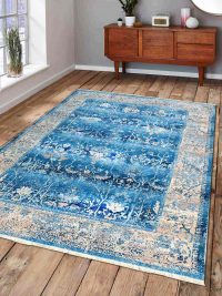Crossweave Machine Woven Polyester Turkish Oriental Area Rug Blue