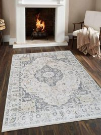 Crossweave Machine Woven Polyester Turkish Oriental Area Rug Cream