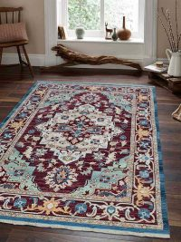 Crossweave Machine Woven Polyester Turkish Oriental Area Rug Red