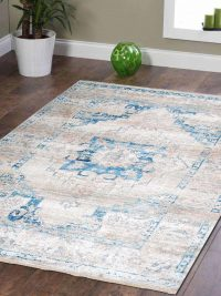 Crossweave Machine Woven Polyester Turkish Oriental Area Rug Ivory Blue
