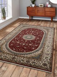 Hand Knotted Persian Wool Oriental Area Rug Nain Red White