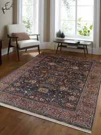 Hand Knotted Persian Wool Oriental Area Rug Kashan Charcoal