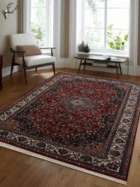 Hand Knotted Persian Wool Oriental Area Rug Kashan Red