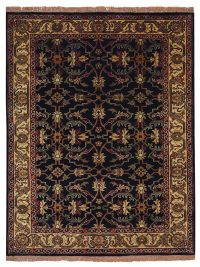 Hand Knotted Persian Semi-Worsted Wool  Oriental Area Rug Kashan Black