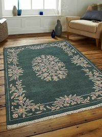 Hand Knotted Persian Wool Oriental Area Rug Abushan Green