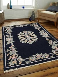 Hand Knotted Persian Wool Oriental Area Rug Abushan Navy
