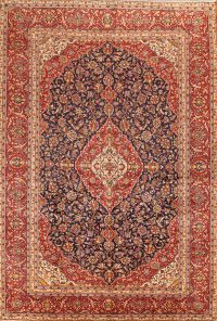 Navy Blue Floral Kashan Persian Area Rug 9x13