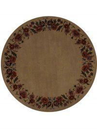Floral Round Ivory 8x8 Oushak Agra Oriental Area Rug