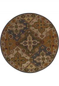 Round 8x8 Tabriz Oriental Area Rug Wool Carpet