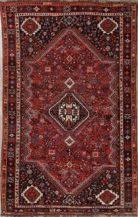 Geometric Tribal Qashqai Shiraz Persian Area Rug 5x8