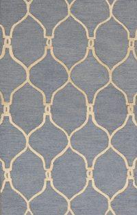 Hand-Tufted Light Blue Oushak Trellis Oriental Area Rug 3x5