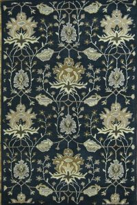 Hand-Tufted Floral Oushak Agra Oriental Blue Area Rug 5x8