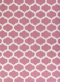 Pink/Ivory Oushak Trellis Oriental Area Rug 8x11