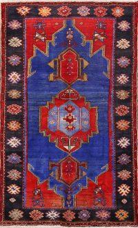 Geometric Royal Blue 5x8 Hamedan Persian Area Rug