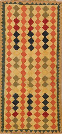 Flat-Weave Kilim (Shiraz) Persian Runner Rug 4x9