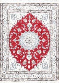 Floral Nain Persian Medallion Area Rug 5x6