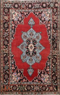 Red Geometric Tabriz Persian Area Rug 4x6