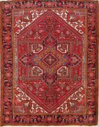 Vintage Heriz Persian Medallion Red Area Rug 7x9