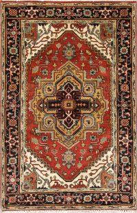 Geometric Heriz Indian Oriental Area Rug 4x6