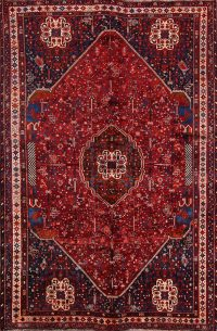 Geometric Tribal Abadeh Shiraz Persian Area Rug 7x10