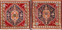 Pair Of 2 Abadeh Shiraz Persian Square Rug 2x2
