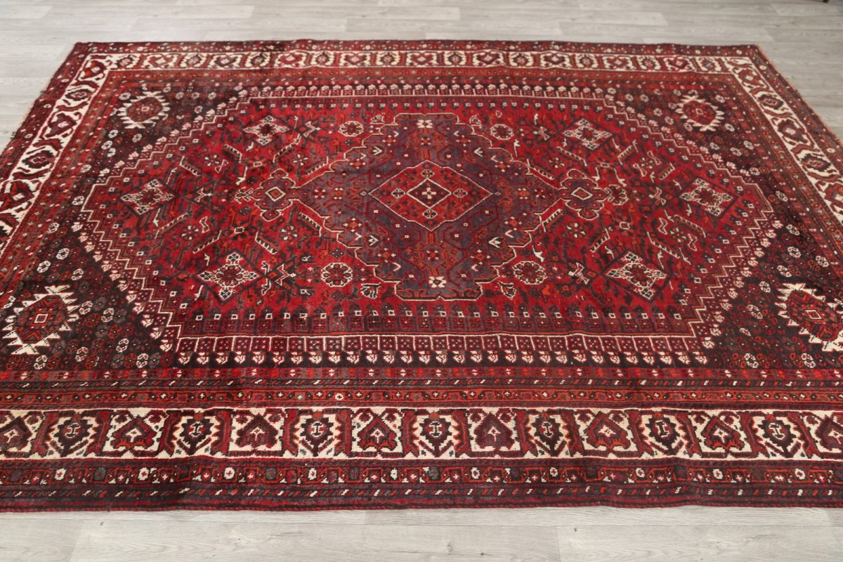 Geometric Tribal Qashqai Shiraz Persian Area Rug 7x10