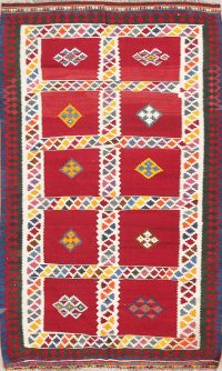 Geometric Kilim Persian Area Rug 4x7