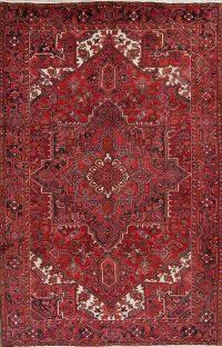 Red Geometric Heriz Persian Area Rug 7x10